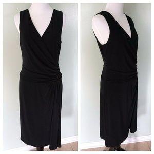 RALPH LAUREN Black Drape Faux Wrap Stretch Dress